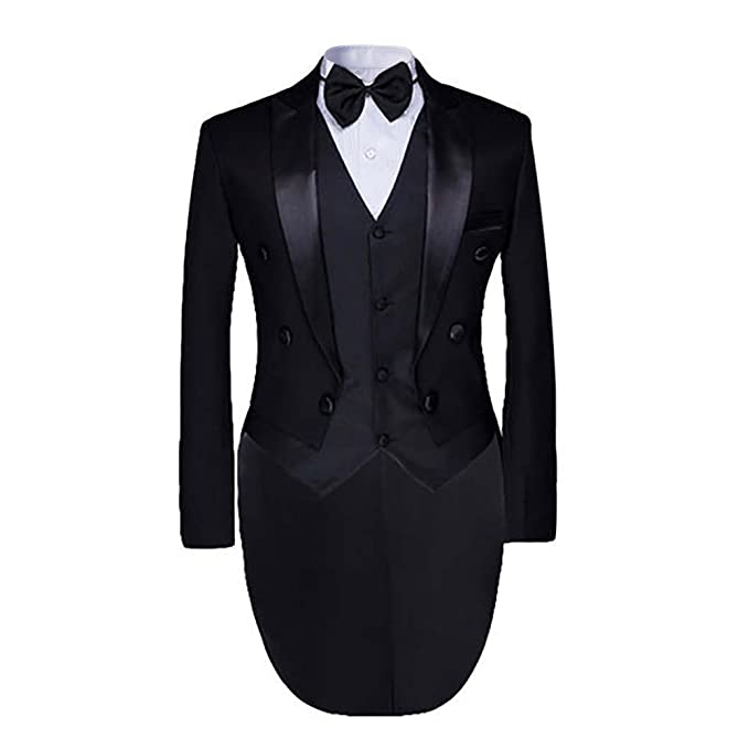 Edwardian Men's Formal Wear Cloudstyle Mens Tailcoat Formal Slim Fit 3-Piece Suit Dinner Jacket Swallow-Tailed Coat $67.99 AT vintagedancer.com