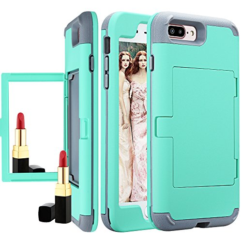 iPhone 8 Plus Wallet for Women/Girls,Auker Card Holder+Makeup Mirror Design Shockproof Dropproof Armor Military Grade Hybrid Protective Bumper Case w/Dual Layer Slim Shell for iPhone 7 Plus (Mint)