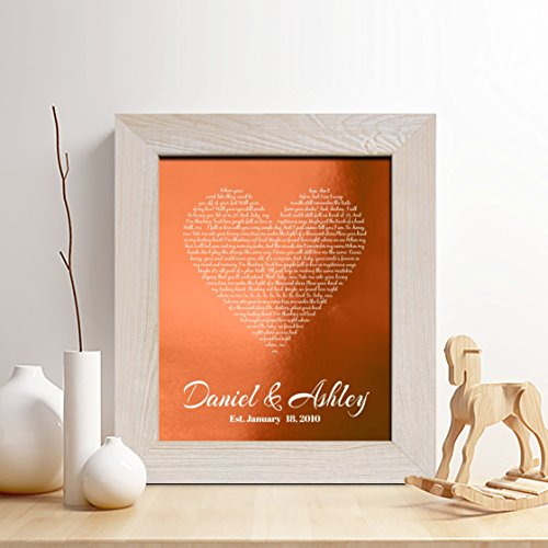 Personalized 7th or 22nd Copper Anniversary Gift for Him or Her, First dance song Copper Print, Wedding Vow Copper Print, any Text,Gifts for Husband and Wife, 7 Years Together