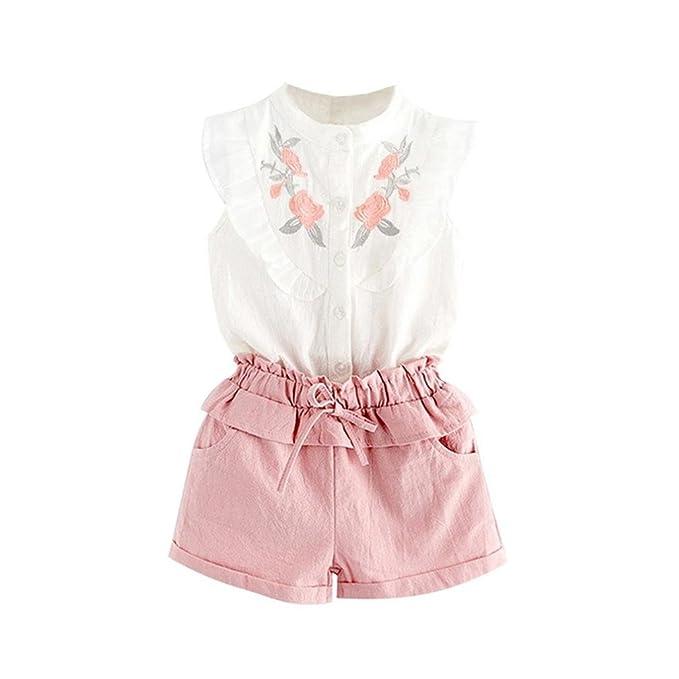 Ropa Bebe Recien Nacido, Zolimx Niño Pequeño Bebé Niña Traje Ropa Bordado Camiseta Tops + Pantalones Cortos Conjunto
