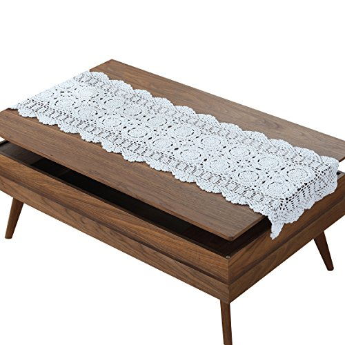 gracebuy White 16X35 Inch Rectangle Handmade Crochet Lace Tablecloth Doilies ()
