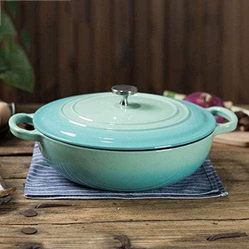 UWY Casserole Casserole Pot - Casserole en Émail Pot À Soupe Antiadhésif Rond en Fonte Ragoût Multifonction Ménage avec Couvercle-Bleu-Rouge