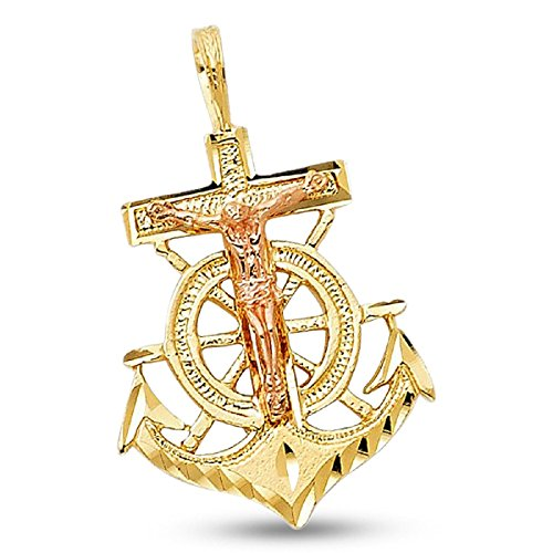 Jesus Anchor Crucifix Pendant 14k Yellow Rose Gold Solid Mariner Cross Charm Two Tone 23 x 18 mm