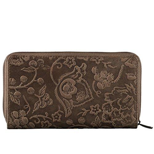 STILORD Vintage Borsellino Portafoglio donna in vera pelle / 13 x EC / disegno a fiori / nobile qualità con Portamonete formato orizzontale marrone