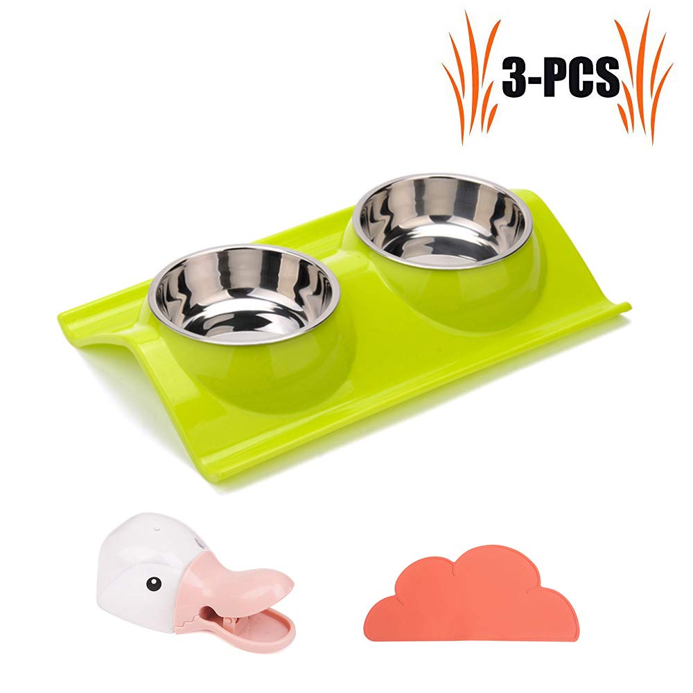 Green Double Stainless Steel Dog Cat Bowls,Detachable Leak Proof Pet Water&Food Feeder,with Cloud Shape Non-Slip Mat and Food Scoop Shovel Tool,Green