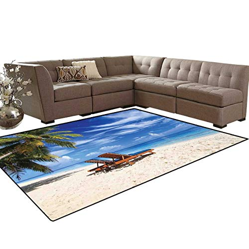 Seaside Anti-Skid Area Rugs Two Beach Chairs on The Tropical Sandy Beach Under Palm Trees Relaxing Customize Door mats for Home Mat 6'x8' Blue Green and ()