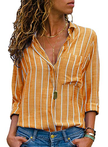 - Button Down Shirts for Women-Womens Striped Long Sleeve Casual V Neck Front Pockets Ladies Tops Yellow Medium