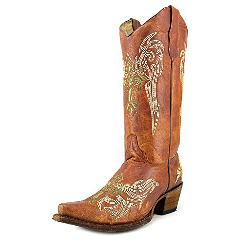 Corral Womens Wing En Cross Embroidery Western Snip Teenlaarzen Tan, Olijf, Beige