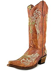Corral Circle G Womens Wing and Cross Embroidery Western Snip Toe Boots