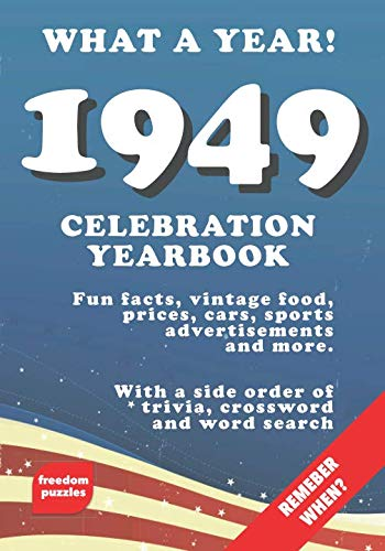 1949 Celebration Yearbook: Fun facts, vintage food, prices, cars, sports, advertisements, puzzles and more