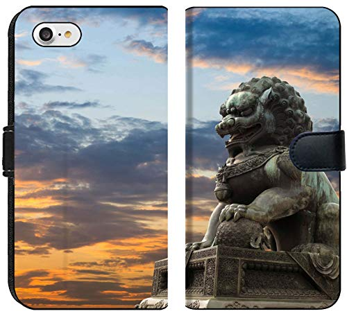 Apple iPhone 8 Flip Fabric Wallet Case Image ID: 10463217 Majestic Lion Statue with Sunset Glow Traditional Chinese Culture sy (Statue Lion For Chinese Sale)