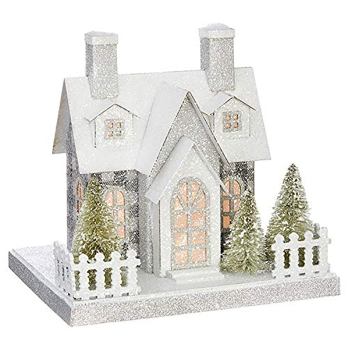 One Holiday Way 9-Inch Elegant Plaid Light Up Christmas House - Tabletop Christmas Decoration (Glitter Houses)