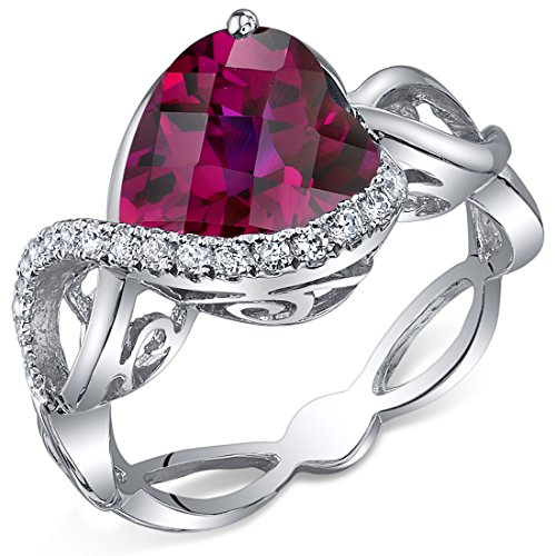 4.00 Carats Created Ruby Ring Sterling Silver Heart Shape Swirl Design Sizes 5 to 9