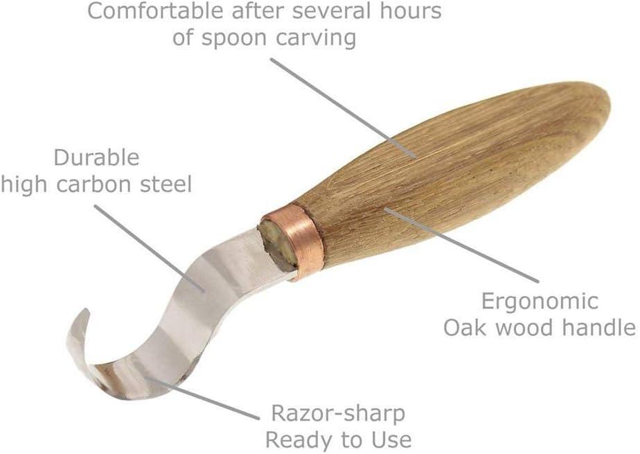 Coltello Curvo Universale per intagliare cucchiai Coltello per sbucciare in Acciaio al Manganese WXGY Set di Strumenti per intagliare Il Legno 3 Pezzi