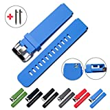 Quick Release Watch Bands - Choice of Colors & Widths (18mm, 20mm or 22mm) - Soft Silicone Rubber - 2 Extra Watch Pins (Blue, 18mm)