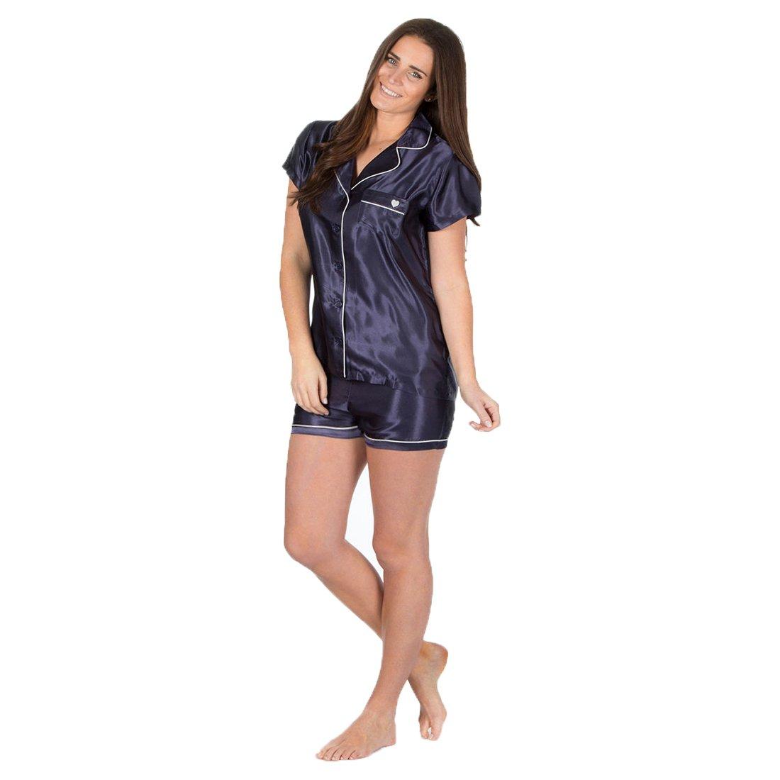 7295b50ed5 Ladies Forever Dreaming Silky Satin Pyjama Top Shorts Nightwear Sleepsuit  Pjs  Amazon.co.uk  Clothing