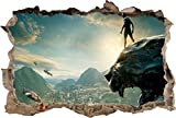 3d wall art marvel - Black Panther Movie 3D Smashed Wall Sticker Decal Decor Art Mural Marvel J966, Large