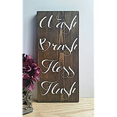 Elegant Wash Brush Floss Flush Country Rustic Farmhouse Bathroom Wooden Sign Spa Rules Wall Art Decor