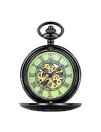 Clamshell Mechanical Pocket Watch Roman Carved Hollow Classic Mechanical Watch Men Women Chain Pocket Watch,Green