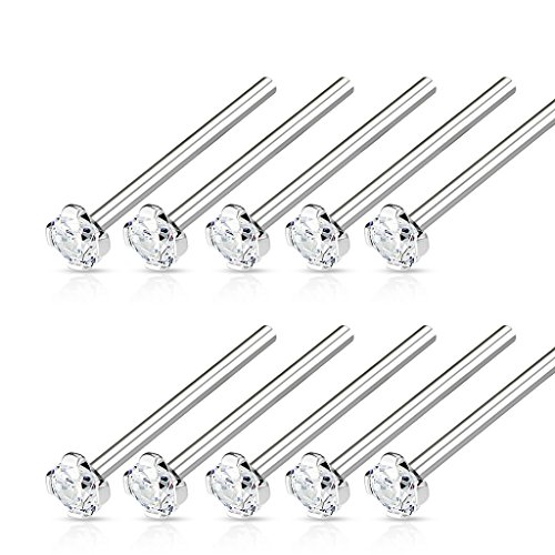 Set of Ten 2mm Prong Set CZ Crystal Top Fish Tail Nose Ring - Available in Multiple Sizes (18GA / 19mm (3/4