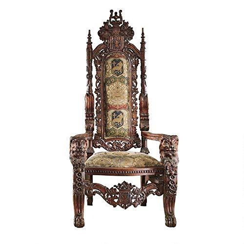 Design Toscano The Lord Raffles Lion Throne Fabric Arm Chair