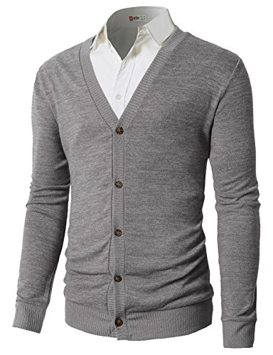 H2H Men's Soft Touch Zip-Front Cardigan Sweater Of Solid Colors Gray US S/Asia M (Mens Zip Front Cardigan)