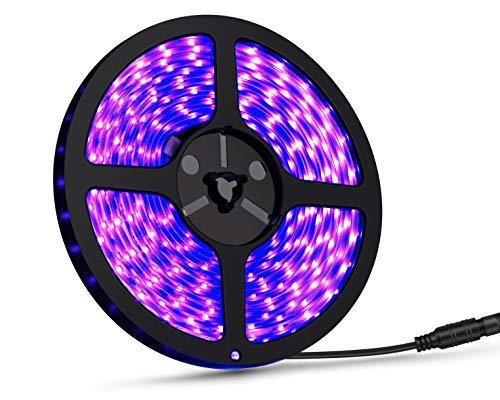 UV Led Strip Lights - 16.4ft Ultraviolet Light Tape Waterproof Black Lights 300 LEDs, 12V DC Cable Flexible led String Lights (Power Adapter not Include)