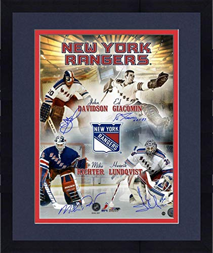 Framed Eddie Giacomin/Mike Richter/John Davidson/Henrik Lundqvist Multi Signed New York Rangers Goalies 16x20 Collage Photo - Steiner Sports