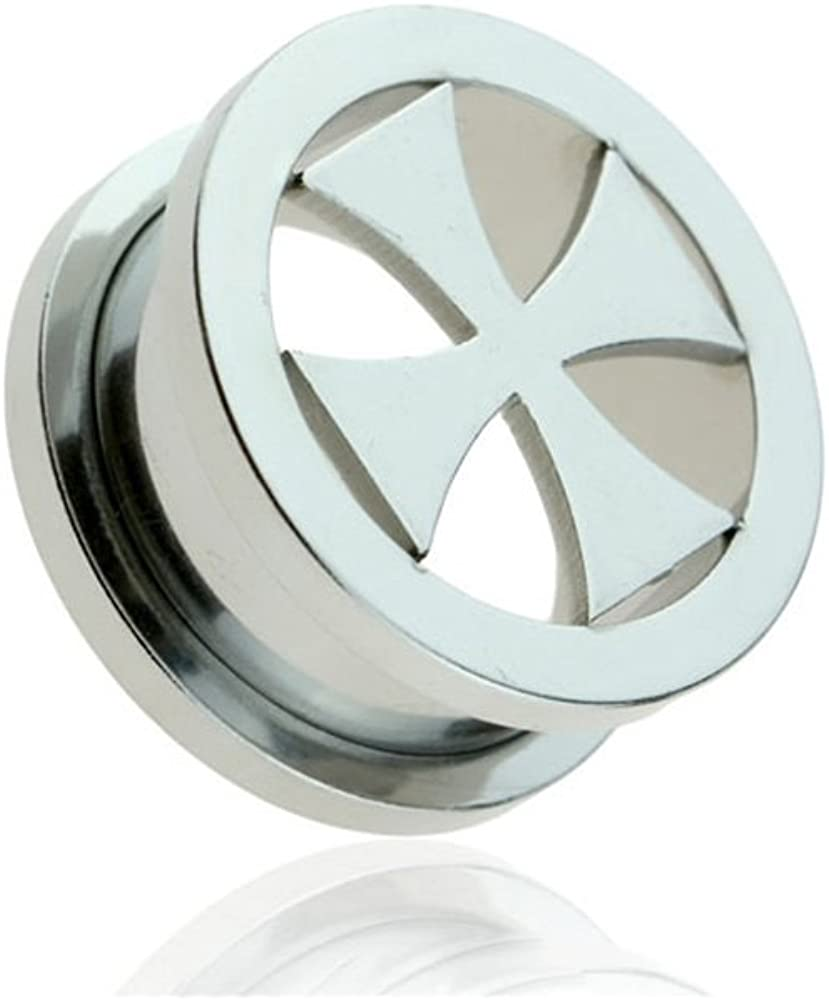 Dynamique Pair of Iron-Cross Screw Fit Tunnel Plugs 316L Surgical Steel