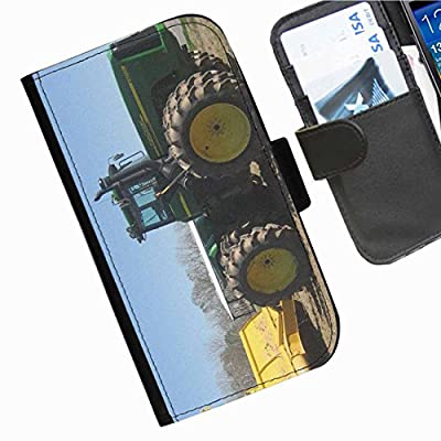 Hairyworm - Green Tractor Apple Iphone 4, 4s leather side flip wallet cell phone case, cover