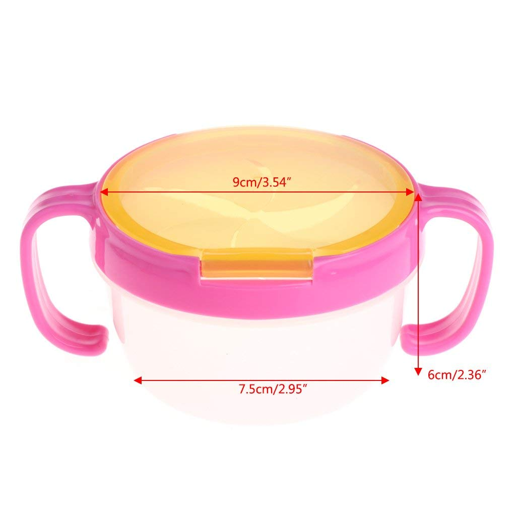 Blue//Pink 2 Piece Snack Catcher,BPA-Free Twin Pack tweat Snack Container with Attached lid and Soft Spill-Proof Guard
