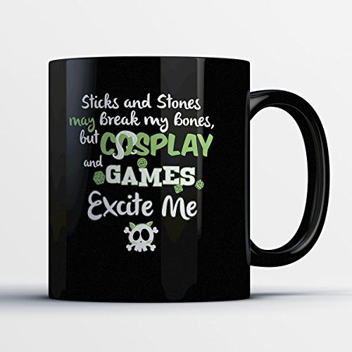 [Cosplay Coffee Mug - Cosplay And Games - Adorable 11 oz Black Ceramic Tea Cup - Cute Cosplayer Gifts with Cosplay Sayings] (Kickass Costume Cosplay)