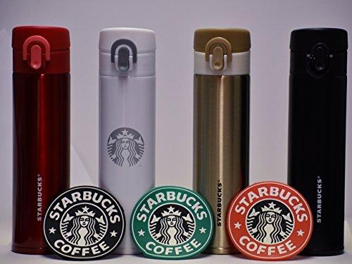 Starbucks Stainless Steel Tumbler + 1992 Siren Logo Starbucks Coasters (3-Pack)