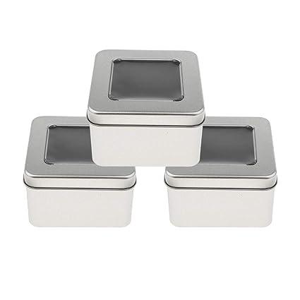 1 x Vorratsdose mit Sichtfenster Keks- und Tabakdose verwendbar 14,2 x 11,7 x 5,7 cm Farbe: Silber eckige Metalldose aus Weissblech mit St/ülp-Deckel mikken ideal als Geb/äck-