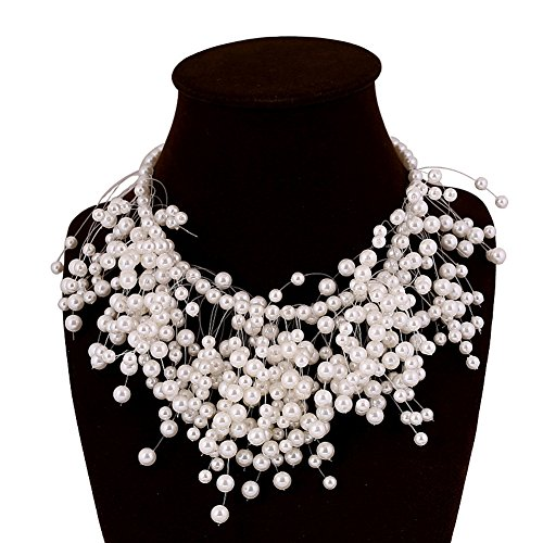 Vogue Many Levels Simulated Pearl Necklace Bride Illusion Necklace