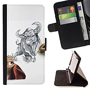 For HTC Desire 820 cool draw sketch bull Taurus fierce fight matador Beautiful Print Wallet Leather Case Cover With Credit Card Slots And Stand Function