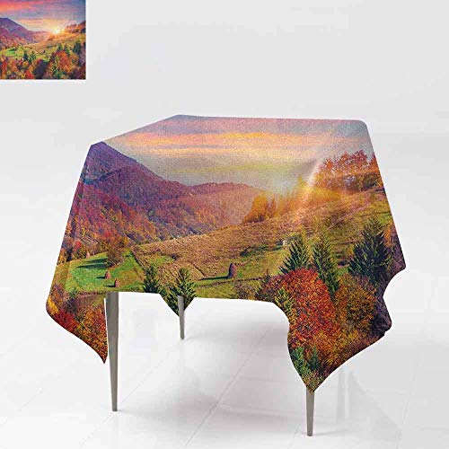AndyTours Washable Square Tablecloth,Nature,Pastoral Autumn Morning in Mountain Village Fall Tree Surreal Rural Print,Party Decorations Table Cover Cloth,70x70 Inch Red Purple -