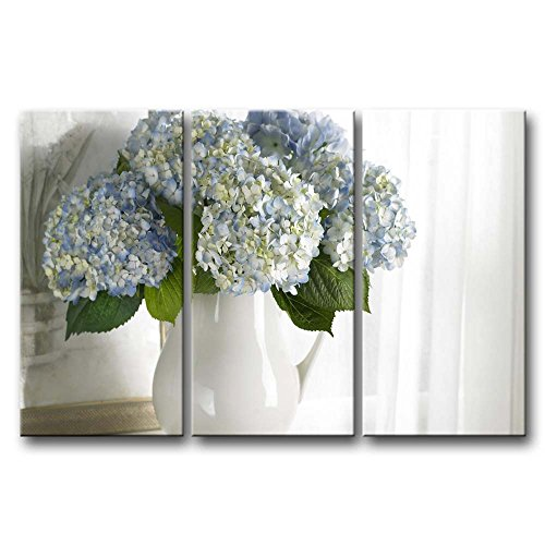 3 Panel Wall Art Painting Hydrangea In White Vase Pictures Prints On Canvas Flower The