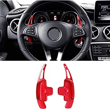 WANWU 2pcs Aluminum Steering Wheel Shift Paddle Shifter Extension Cover for Mercedes Benz A B C E G M S CLA GLK CLS SLK Silver