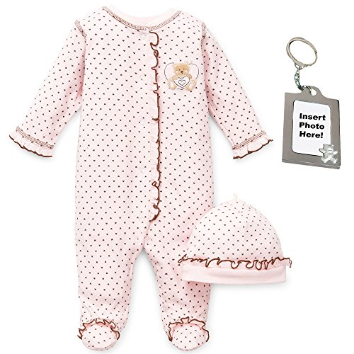 Little Me Sleepy Bear Baby Girls' Footed Sleeper Hat and Keychain 3 Mths, Pink