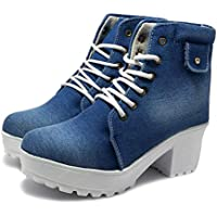 FASHIMO Women's Classic Look Denim Synthetic Ankle Length Boot -37 Euro