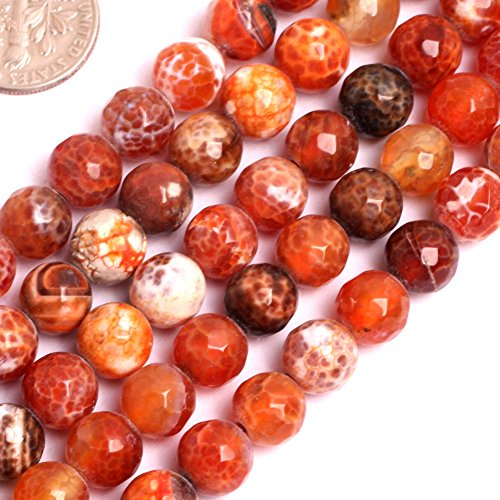 GEM-inside Faceted 8MM Natural Fire Agate Beads Round Gemstone Gem Loose Beads Findings Accessories Strand 15 Inches (Beads Round Agate Necklace)