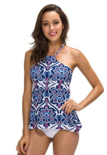 FanShou Women High Neck Halter Two Pieces Tankini Top Swimsuit Set with Briefs M