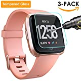 QIBOX Fitbit Versa Screen Protector, 3 Pack Tempered Glass...