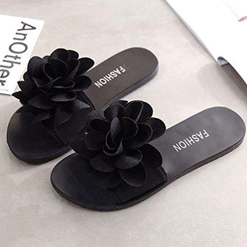Air Fashion JRenok Sandales Bohème Dérapant Plat Diapositives Noir Anti Dentelle Sandales Plage Été Plein Fleur Femmes en pHHw57q