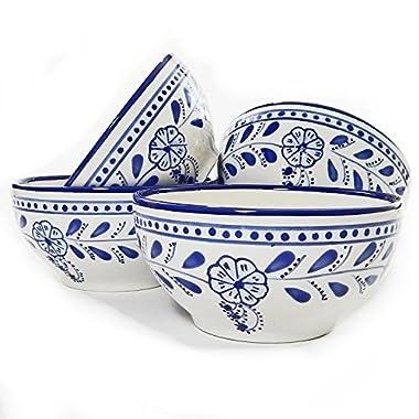 Le Souk Ceramique Soup/Cereal Bowls, Set of 4, Azoura Design