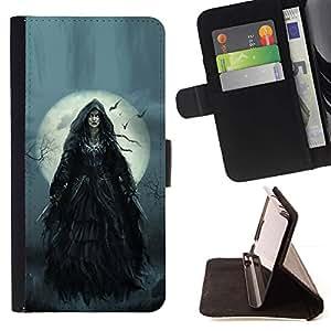 Momo Phone Case / Flip Funda de Cuero Case Cover - Luna la noche de Halloween Gris - Motorola Moto E ( 2nd Generation )