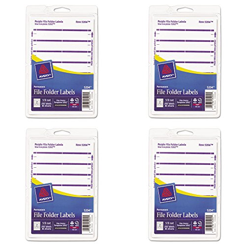 Avery Print or Write File Folder Labels for Laser and Inkjet Printers, 1/3 Cut, Purple, Pack of 252 (5204), 4 Packs ()