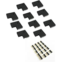 10pcs 10mm 4-pins L-Shape 90 Degree Right Angle Female Connector for LED RGB 5050 Flex Strip Light (L Shape)