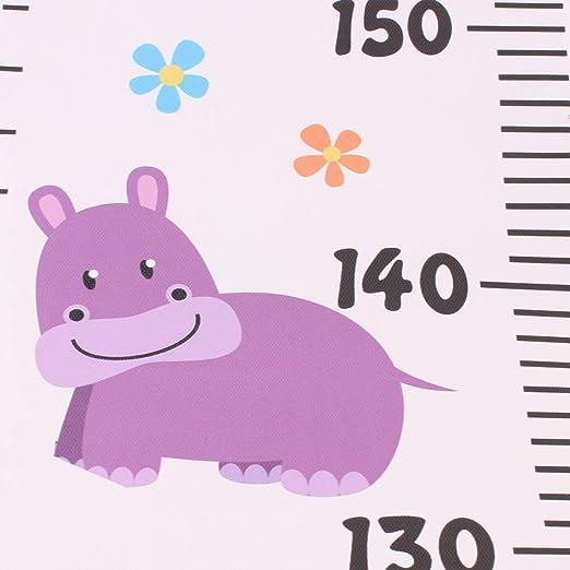 Festnight Cuadro de Altura de Crecimiento Lienzo y Marco de Madera Animales de Dibujos Animados Lindos Que Dan la Regla Tabla de Crecimiento para Colgar en la Pared